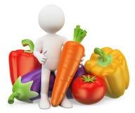 οι τρισδιάστατοι άνθρωποι εξετάζουν το λευκό τρόφιμα υγιή Λαχανικά Στοκ Εικόνα
