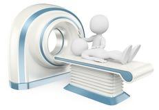 οι τρισδιάστατοι άνθρωποι εξετάζουν το λευκό Υπολογισμένη τομογραφία CT Στοκ Εικόνες