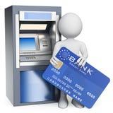 οι τρισδιάστατοι άνθρωποι εξετάζουν το λευκό ATM αφηρημένη μπλε πιστωτική φωτογραφία καρτών απεικόνιση αποθεμάτων
