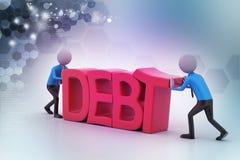 οι τρισδιάστατοι άνθρωποι προσπαθούν να αποφύγουν το χρέος Στοκ Εικόνα
