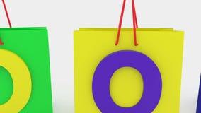 Οι τσάντες αγορών στα διάφορα χρώματα δροσίζουν ελεύθερη απεικόνιση δικαιώματος