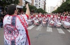 Οι τυμπανιστές από Batala ενώνουν Badajoz καρναβάλι 2016 Στοκ φωτογραφία με δικαίωμα ελεύθερης χρήσης