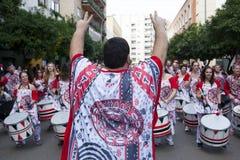 Οι τυμπανιστές από Batala ενώνουν Badajoz καρναβάλι 2016 Στοκ εικόνες με δικαίωμα ελεύθερης χρήσης