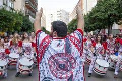 Οι τυμπανιστές από Batala ενώνουν Badajoz καρναβάλι 2016 Στοκ φωτογραφίες με δικαίωμα ελεύθερης χρήσης