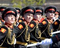 Οι τυμπανιστές του στρατιωτικού σχολείου μουσικής της Μόσχας στο κόκκινο τετράγωνο κατά τη διάρκεια της γενικής πρόβας της παρέλα Στοκ φωτογραφίες με δικαίωμα ελεύθερης χρήσης