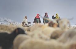 Οι υπερήλικες του χωριού αναρριχούνται στις επικίνδυνες περιοχές για να φέρουν κατ' οίκον χαμένη yaks στοκ εικόνα
