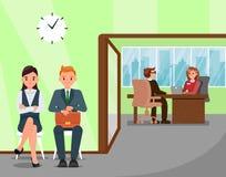 Οι υποψήφιοι που περιμένουν την εργασία παίρνουν συνέντευξη από την απεικόνιση ελεύθερη απεικόνιση δικαιώματος
