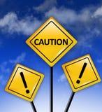 Οι υψηλοί κίνδυνοι προσοχής υπογράφουν μπροστά στοκ φωτογραφία