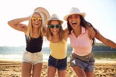 Οι φίλες σε ένα κόμμα γελούν στην παραλία στο πάρκο στοκ εικόνες