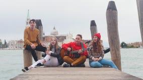 Οι φίλοι κάθονται σε μια ξύλινη αποβάθρα Ένας από τους παιχνίδια οι τύποι κιθάρων τραγουδά απόθεμα βίντεο