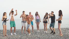 Οι φίλοι χορεύουν στην παραλία κάτω από το φως του ήλιου ηλιοβασιλέματος, που έχει τη διασκέδαση, ευτυχή, απολαμβάνουν απόθεμα βίντεο