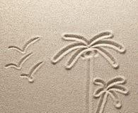 Οι φοίνικες και τα πουλιά επισύρονται την προσοχή στην άμμο θάλασσας Στοκ εικόνες με δικαίωμα ελεύθερης χρήσης