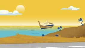 Οι φοίνικες παραλιών και ένα διανυσματικό πρότυπο υποβάθρου απεικόνισης βαρκών για διαφημίζουν, ταξιδιωτικό γραφείο, έμβλημα, προ Στοκ Εικόνες