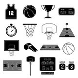 οι φορείς εικονιδίων καλαθοσφαίρισης θέτουν τις σκιαγραφίες Στοκ Εικόνες