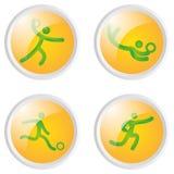 οι φορείς εικονιδίων ποδοσφαίρου σφαιρών σκιαγραφούν τον αθλητισμό δύο Στοκ φωτογραφία με δικαίωμα ελεύθερης χρήσης