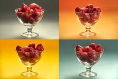 Οι φράουλες στο γυαλί κοιλαίνουν το μωσαϊκό - τέσσερα διαφορετικά χρωματισμένα ορθογώνια σε ένα πλαίσιο στοκ εικόνες με δικαίωμα ελεύθερης χρήσης