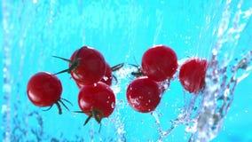 Οι φρέσκες ντομάτες κερασιών που πετούν στο νερό πέφτουν απότομα στο σε αργή κίνηση πυροβολισμό σε 1500 fps απόθεμα βίντεο