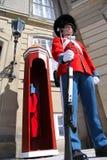 Οι φρουρές της τιμής στο κόκκινο galla ομοιόμορφο φρουρώντας το βασιλικό παλάτι Amalienborg κατοικιών από την προοπτική βατράχων Στοκ Εικόνες