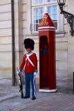 Οι φρουρές της τιμής στο κόκκινο galla ομοιόμορφο φρουρώντας το βασιλικό παλάτι Amalienborg κατοικιών από την προοπτική βατράχων Στοκ Φωτογραφίες