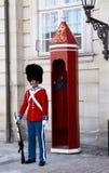 Οι φρουρές της τιμής στο κόκκινο galla ομοιόμορφο φρουρώντας το βασιλικό παλάτι Amalienborg κατοικιών στην Κοπεγχάγη, Δανία Στοκ Φωτογραφίες