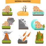 Οι φυσικές καταστροφές χρωματίζουν το επίπεδο σύνολο μεταφορτώστε το έτοιμο διάνυσμα εικόνας απεικονίσεων Στοκ Φωτογραφίες