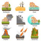 Οι φυσικές καταστροφές χρωματίζουν το επίπεδο σύνολο μεταφορτώστε το έτοιμο διάνυσμα εικόνας απεικονίσεων Στοκ εικόνες με δικαίωμα ελεύθερης χρήσης