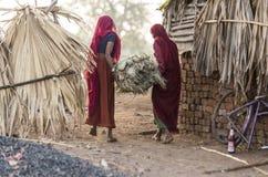Οι φυλετικές κυρίες με τη χλόη συσσωρεύουν Στοκ Εικόνες