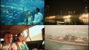 Οι φωτεινότερες θέες του Ντουμπάι εμιράτα που ενώνονται αρα απόθεμα βίντεο