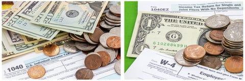Οι φόροι νομισμάτων διαμορφώνουν το κολάζ 1040 πληρωμή μετρητοίς Στοκ Φωτογραφία
