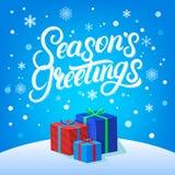 Οι χαιρετισμοί εποχών δίνουν το γραπτό σχέδιο εγγραφής Σύγχρονη βούρτσα calligarphy για τη κάρτα Χριστουγέννων απεικόνιση αποθεμάτων