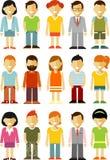 Οι χαρακτήρες ανθρώπων στέκονται το σύνολο στο επίπεδο ύφος που απομονώνεται στο άσπρο υπόβαθρο Στοκ Εικόνα