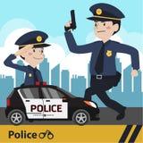Οι χαρακτήρες αστυνομεύουν το επίπεδο σχέδιο Στοκ Εικόνα