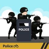 Οι χαρακτήρες αστυνομεύουν το επίπεδο σχέδιο Στοκ εικόνα με δικαίωμα ελεύθερης χρήσης