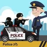 Οι χαρακτήρες αστυνομεύουν το επίπεδο σχέδιο Στοκ φωτογραφία με δικαίωμα ελεύθερης χρήσης