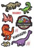 Οι χαρακτήρες δεινοσαύρων σχεδιάζουν την αυτοκόλλητη ετικέττα dicut ελεύθερη απεικόνιση δικαιώματος