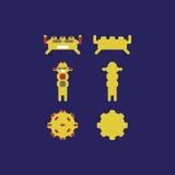 Οι χαρακτήρες τεράτων για το παιχνίδι app παίζουν ή αφίσες ρομπότ app Στοκ Φωτογραφία
