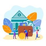 Οι χαρακτήρες των υπαλλήλων των υπαλλήλων τράπεζας φέρνουν και βάζουν τα χρήματα σε ένα πορτοφόλι με τα τραπεζογραμμάτια και τις  απεικόνιση αποθεμάτων