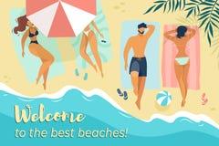 Οι χαρακτήρες χαλαρώνουν κάτω από τις ομπρέλες θαλάσσης στην παραλία διανυσματική απεικόνιση