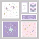 Οι χαριτωμένες κάρτες με το μονόκερο και το χρυσό ακτινοβολούν αστέρια Για την πρόσκληση γενεθλίων, ντους μωρών, ημέρα βαλεντίνων Στοκ Φωτογραφίες
