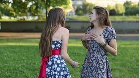Οι χαριτωμένες φίλες κοριτσιών συναντιούνται στο πάρκο, την αγκαλιά και την ομιλία φιλμ μικρού μήκους
