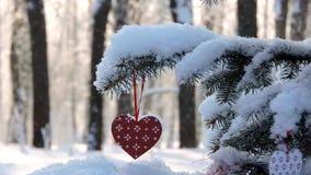 Οι χιονοπτώσεις το χειμώνα, κλάδος με μια καρδιά Χριστουγέννων ταλαντεύονται στον αέρα απόθεμα βίντεο