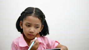 Οι χρήσεις κοριτσιών κοκκινίζουν για να βουρτσίσουν τα μάγουλά της απόθεμα βίντεο