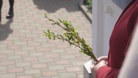Οι χριστιανικές χριστιανικές διακοπές είναι η Κυριακή φοινικών που γιορτάζεται μια εβδομάδα πριν από Πάσχα, τα ιερά φω'τα πατέρων απόθεμα βίντεο