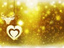 Οι χρυσές κίτρινες διακοσμήσεις αστεριών χιονιού ελαφιών καρδιών Χριστουγέννων υποβάθρου θολώνουν το νέο έτος απεικόνισης Στοκ φωτογραφία με δικαίωμα ελεύθερης χρήσης