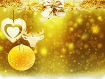 Οι χρυσές κίτρινες διακοσμήσεις αστεριών χιονιού ελαφιών σφαιρών καρδιών Χριστουγέννων υποβάθρου θολώνουν το νέο έτος απεικόνισης Στοκ φωτογραφία με δικαίωμα ελεύθερης χρήσης