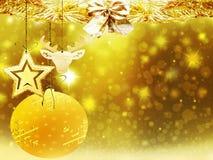 Οι χρυσές κίτρινες διακοσμήσεις αστεριών χιονιού ελαφιών σφαιρών καρδιών Χριστουγέννων υποβάθρου θολώνουν το νέο έτος απεικόνισης Στοκ Φωτογραφίες