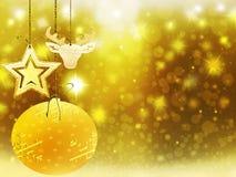 Οι χρυσές κίτρινες διακοσμήσεις αστεριών χιονιού σφαιρών ελαφιών καρδιών Χριστουγέννων υποβάθρου θολώνουν το νέο έτος απεικόνισης Στοκ Φωτογραφίες