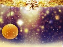 Οι χρυσές κίτρινες διακοσμήσεις αστεριών χιονιού σφαιρών ελαφιών καρδιών Χριστουγέννων υποβάθρου θολώνουν το νέο έτος απεικόνισης Στοκ Εικόνα