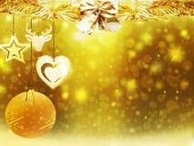 Οι χρυσές κίτρινες διακοσμήσεις αστεριών χιονιού σφαιρών ελαφιών καρδιών Χριστουγέννων υποβάθρου θολώνουν το νέο έτος απεικόνισης Στοκ Φωτογραφία