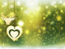 Οι χρυσές κιτρινοπράσινες διακοσμήσεις αστεριών χιονιού ελαφιών καρδιών Χριστουγέννων υποβάθρου θολώνουν το νέο έτος απεικόνισης Στοκ Εικόνα
